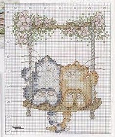 Cross-stitch Swinging Kitties.. no color chart available, just use the colors on pattern chart as your guide.    Punto de Cruz GRATIS: Animales.