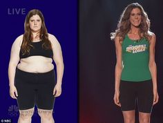 Total transformation: The Biggest Loser winner Rachel Frederickson was shown before and after on Tuesday during the show's finale