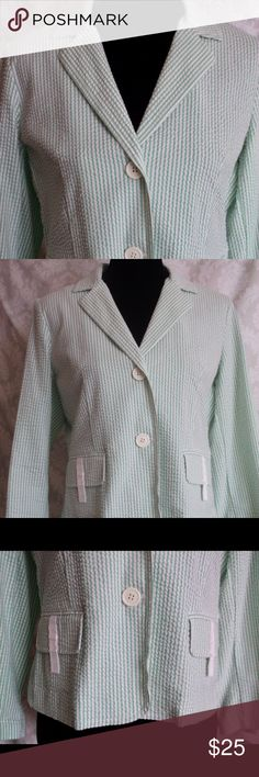 IZOD Cropped Seersucker Blazer M New without tag IZOD Cropped Seersucker Blazer M New without tag Green/White stripes  M Lapels  2 Buttons Front pockets with trim  Large buttons each sleeve  97% Cotton  3% Spandex  Machine Wash Cold  NEW, never worn, no tags…. Feel free to send any questions you may have  I am open to offers and negotiation of price or BUNDLE!  All clothing and accessories from clean non smoking home  THANK YOU for visiting my closet! Izod Jackets & Coats Blazers