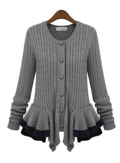 Gray Single-breasted Skirt Round Neck Sweater