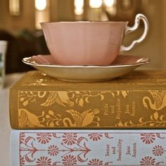 Cup of tea and books; specifically, pretty books; super specifically, pretty Jane Austen books