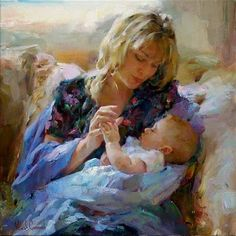 Pinturas de Michael e Inessa Garmash! 7 Arts, Mothers Love, Mother And Child, Beautiful Paintings, Oeuvre D'art, Belle Photo, Female Art, Art For Kids, Original Paintings