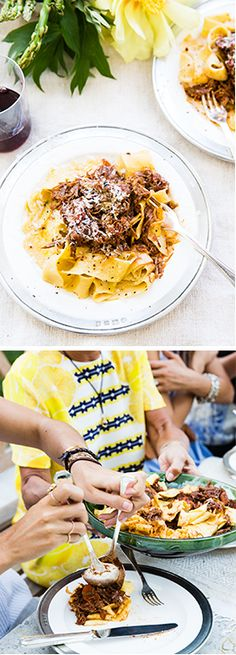 Pappardelle Duck Ragu - uses 4 duck legs, marinate overnight then cook for 2+ hours.