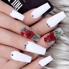 Cute Nail Art Designs For Short Nails 2019 24 Cute Nail Art Designs, Acrylic Nail Designs, Fingernail Designs, Flower Nail Designs, White Acrylic Nails, Best Acrylic Nails, Acrylic Nail Art, Gorgeous Nails, Pretty Nails