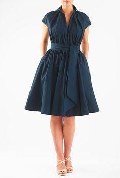 Cotton poplin blouson dress from eShakti (in teal rather than blue)
