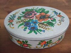Vintage Floral Needlework Tin by jessamyjay on Etsy. Cross-stitch, embroidery look to this darling tin. Makes excellent storage, decor or gift.