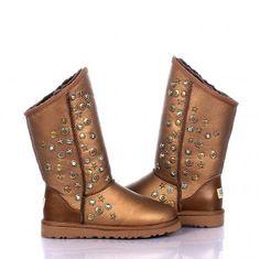 Women UGG Jimmy Choo Studded Suede Boots Tall 5838 Metallic Gold