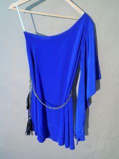Women's Foreign Exchange Blue One Sleeve Off Shoulder Gold Belt Medium  #ForeignExchange #OneSleeve #Clubwear