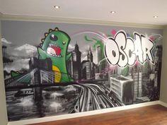 children / teen / Kids Bedroom Graffiti mural - hand painted graffiti skyline and Dino feature wall design #graffitibedroom #interior design