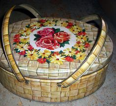 Vintage Tin Roses Sewing Box Lunch Box Embroidery by TheBackShak, $18.00
