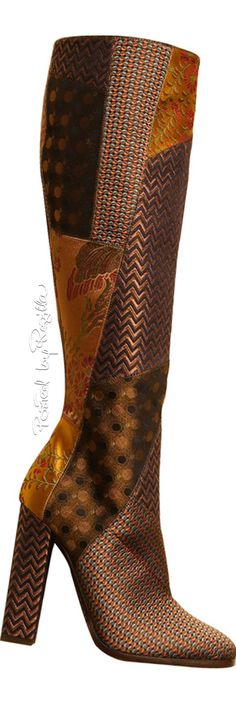 Etro ~ Multi Brown Patchwork Leather Tall Boots, Fall-Winter 2015-16