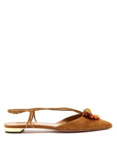 de760301559c Enliven your look with Aquazzura s tan-brown suede Samba flats. They are  crafted in