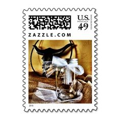 Rustic Country Mason Jar Wedding Postage Stamps