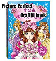 Cartoon Princess Graffiti Book Color Pencil Painting Techniques Children Drawing Coloring Books 4 Set