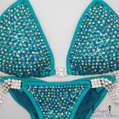 Crystal ab and emerald ab on Sequin Teal