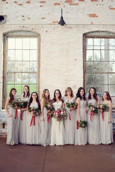light gray bridesmaid dresses with red accents | Alea Moore