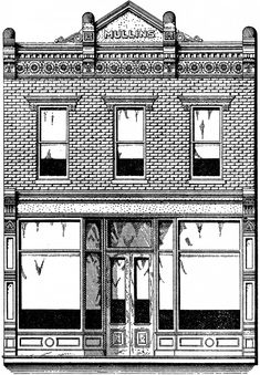 This is a Vintage Brick Store Front Image! This Vintage Engraving was scanned from a Rare Antique, Circa Architectural Metal Company Catalog. This is a beautiful old Brick Store or Shop front. Building Front, Building Facade, Building Plans, D House, Shop House Plans, Facade House, Layout, Service Assiette, Brick Store