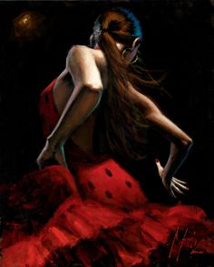 Dancer in Red Lunares Negros 2012 by Fabian Perez