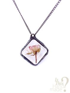 Real pink rose rustic necklace. 3d rose pendant by IsThisHandmade