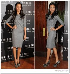 wow... This dress did nothing for her cute lil figure. :(  Love the shoes though...