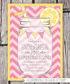 Pink Lemonade Invitation Printable - Chevrons - Mason Jar - Bunting - Lemonade Stand Birthday Party Invite - Bridal Shower -. $15.00, via Etsy.