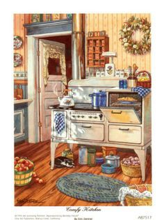 Vintage kitchen illustration artworks 48 New ideas Kitchen Art, Country Kitchen, Vintage Kitchen, Vintage Stove, Kitchen Canvas, Antique Stove, Kitchen Prints, Country Farmhouse, Layout Design