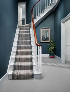 Ingenious Stairway Design Ideas for Your Staircase Remodel - Sebring Design Build Hallway Colours, Staircase Remodel, Foyer Decorating, Stiffkey Blue, Stairway Design, Stairs Design, Blue Hallway, Patterned Stair Carpet, Stairs Colours