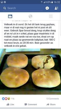 Gebakte vetkoek South African Dishes, South African Recipes, Braai Recipes, Cooking Recipes, 100 Cookies Recipe, Kos, Picnic Foods, Recipes From Heaven, Light Recipes