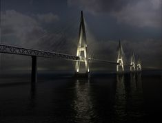 Fehmarn Belt Bridge (connecting Germany and Denmark) - Most Incredible and Famous Bridges in the World Rotterdam, Bangkok, Places Around The World, Around The Worlds, Cable Stayed Bridge, Love Bridge, Kingdom Of Denmark, Famous Bridges, Across The Bridge