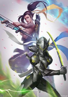 overwatch——Dragon sisters, mist XG on ArtStation at https://www.artstation.com/artwork/vmZDY - More at https://pinterest.com/supergirlsart/ #genderbend #female #overwatch #hanzo #genji #dragon #shimada #fanart