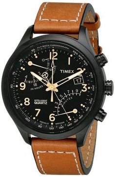3bea6217be17 Timex Men s Intelligent Quartz SL Series Fly-Back Chronograph Brown Leather  Strap Watch - Smart Pinner