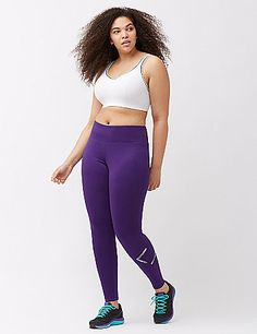 Keep your game strong all Winter long with an active legging warmed with a cozy brushed lining. This one ups your game with a metallic LIVI logo print, plus a hidden pocket in the waistband to keep the essentials close. Pull-on style with an elastic waist. lanebryant.com