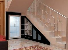 Creative Under Stair Storage Design Ideas- Under Stairs Storage Ideas With Decorating Model Pictures - Diy Storage Bench, Storage Mirror, Storage Design, Wall Storage, Closet Storage, Storage Ideas, Cupboard Storage, Display Design, Closet Organization
