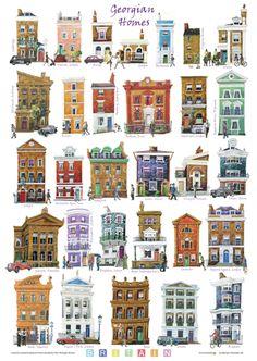 Georgian Homes -- Satin Drew Building Illustration, House Illustration, House Drawing, Urban Sketching, Environment Design, Little Houses, Coaster, Travel Posters, Building Design