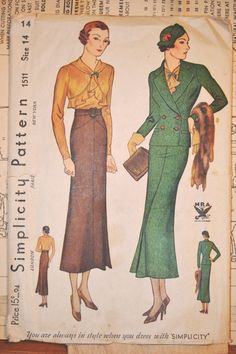Vintage 1930s Simplicity 3pc Suit Pattern 1511 by KathrynsLegacy