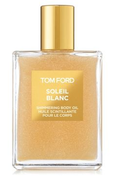 Free shipping and returns on Tom Ford 'Soleil Blanc' Shimmering Body Oil at Nordstrom.com. Tom Ford Shimmering Body Oil captures the sultry effect of sun-kissed summer skin and tempts the senses with a fragrance of scorching sensuality. This silky, lightweight oily illuminates your skin with shimmers of gold and platinum leaf while its captivating fragrance wraps a bouquet of white florals in a golden, amber sandalwood embrace. It's as tempting as a white sand beach and as irresis...