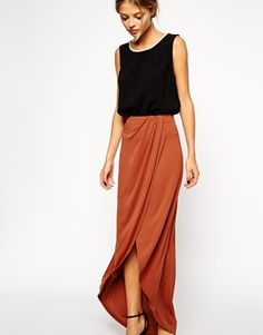 Wrap Maxi Skirt in Crepe
