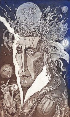 """Alchemist"" etching by Marina Korenfeld"