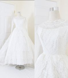 Vintage 1950's White Lace Cupcake Wedding Dress / Lace Nipped Waist / Long Length Train / Satin & Lace