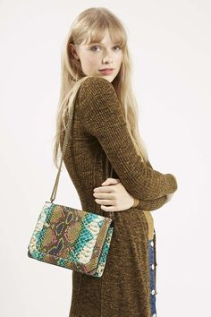 Snake-Effect Chain Crossbody Bag