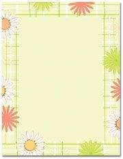 Daisy Plaid Letterhead  25 or 100 sheet packs Laser, Inkjet and Copier Compatible Just add your text & print