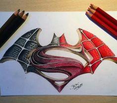 dibujos de batman vs superman faciles