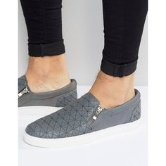 ASOS Slip On Plimsolls in Grey Triangle Rubber With Zips ($22) ❤ liked on Polyvore featuring men's fashion, men's shoes, men's sneakers, grey, mens zipper shoes, mens slip on sneakers, mens slip on shoes, mens canvas sneakers and mens gray dress shoes