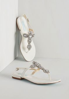 All in Due Shine Sandal by Betsey Johnson - Flat, Faux Leather, Mixed Media, White, Solid, Rhinestones, Special Occasion, Prom, Wedding, Bridesmaid, Bride, Luxe, Best, Slingback, Buckles