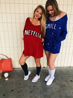 Netflix and Chill twosday twin day spirit week homecoming week prom week high school day ideas twin day ideas Halloween best friend diy cheap idea