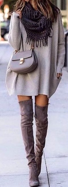 #spring #outfits woman wearing gray sweater dress. Pic by @vogue.story