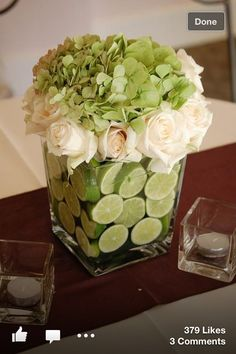 center pieces for dinner. Use red and white flowers