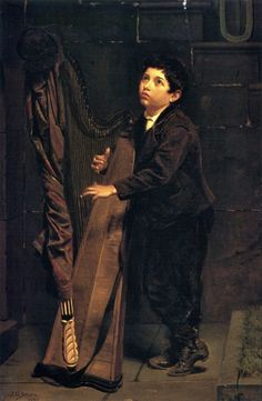 """""""Boy With Harp"""" (1873), by English-born American artist - John George Brown (1831-1913), Oil on canvas, 45.72 x 30.04 cm. (18 x 11.83 in.), Private collection."""