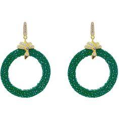 Latelita London - Stingray Medium Hoop Earring Emerald Green (£155) ❤ liked on Polyvore featuring jewelry, earrings, sparkly earrings, pave earrings, clasp earrings, snake earrings and emerald green earrings