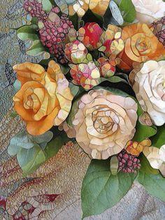 Art Print of glass mosaic Vintage Roses by Joke Vermeer Stained Glass Art, Mosaic Glass, Mosaic Tiles, Tiling, Leaded Glass, Mosaic Crafts, Mosaic Projects, Mosaic Designs, Mosaic Patterns